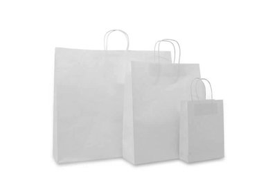 Papieren budget twisted draagtas Wit vanaf € 0,17 per stuk