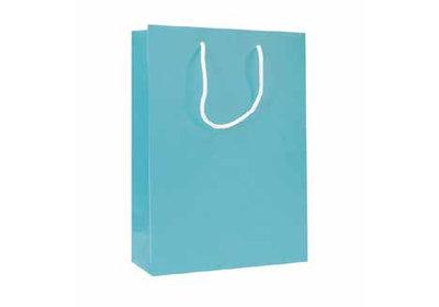 Papieren koorddraagtas met glans laminaat Blauw