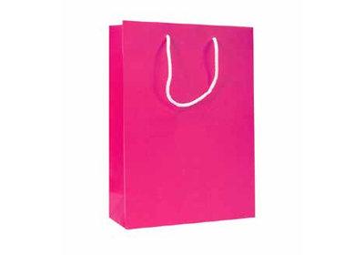 Papieren koorddraagtas met glans laminaat Roze