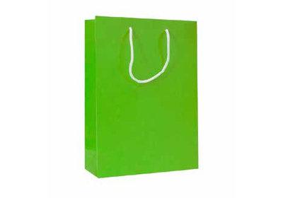 Papieren koorddraagtas met glans laminaat Groen