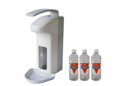 Zeep&desinfectie elleboogdispenser 1L + 3x1L Handalcohol 70%