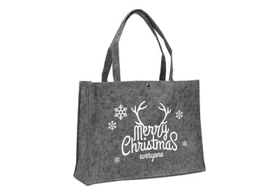 Vilt Kerst draagtas Merry christmas donkergrijs