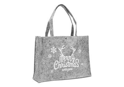 Vilt Kerst draagtas Merry christmas lichtgrijs