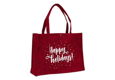 Vilt Kerst draagtas Happy holidays bord rood