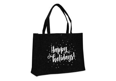 Vilt Kerst draagtas Happy holidays zwart