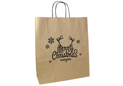 Papieren Kerst draagtas twisted merry christmas