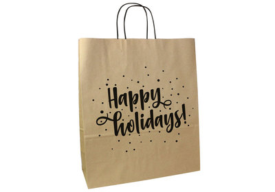 Papieren Kerst draagtas twisted Happy holidays