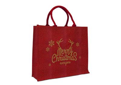 Jute Naturel Eco Kerst draagtas merry christmas rood