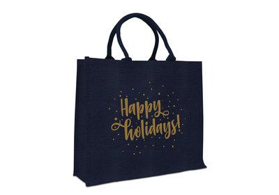 Jute Naturel Eco Kerst draagtas happy holidays blauw