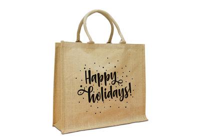 Jute Naturel Eco Kerst draagtas happy holidays