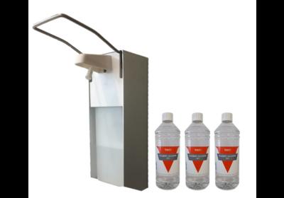 Zeep&desinfectie elleboogdispenser aluminium 1L + 3x1L Handalcohol 70%