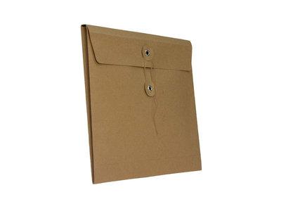 Papieren Geschenkenvelop Bruin Kraft met sluiting