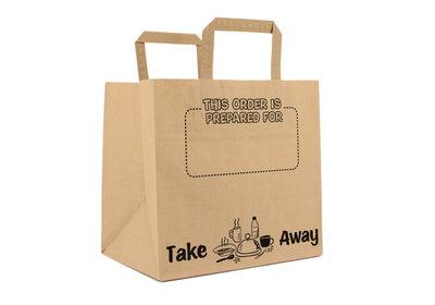 Papieren lus draagtas take away bag Prepared for