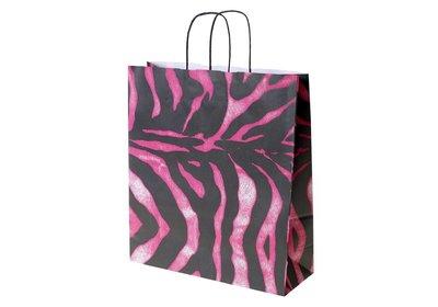 Zebra pink Papieren budget twisted draagtas vanaf € 0,40 per stuk