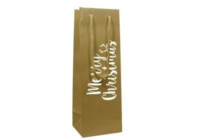 Papieren Kerst wijnfles draagtas met koord merry christmas goud