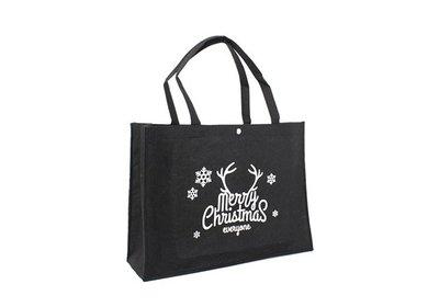 Vilt Kerst draagtas merry christmas - 1 zwart bedrukken