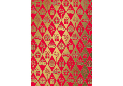 Sinterklaas kadopapier 30/50 cm 125 m. classic sint rood-goud