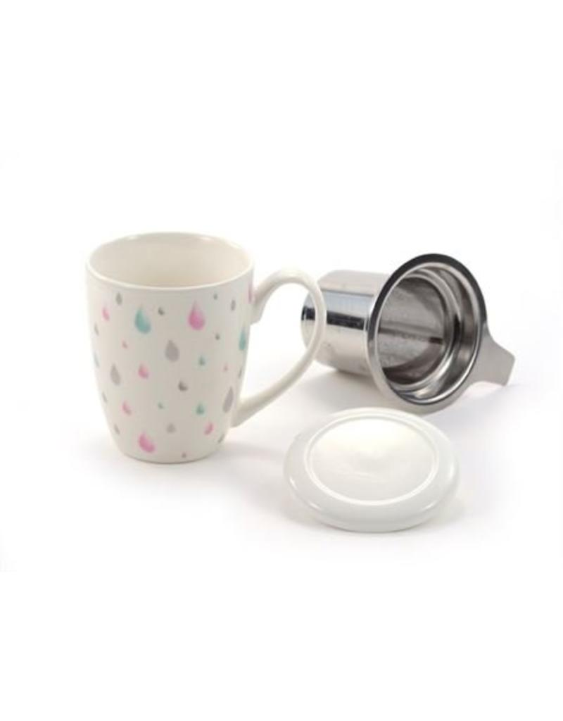 Tea Brokers Theebeker Raindrops met RVS filter en deksel