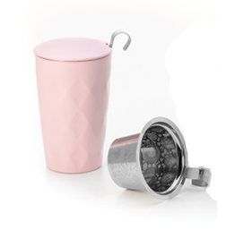 Tea Brokers Theebeker LUX Line met RVS filter en deksel, mat roze