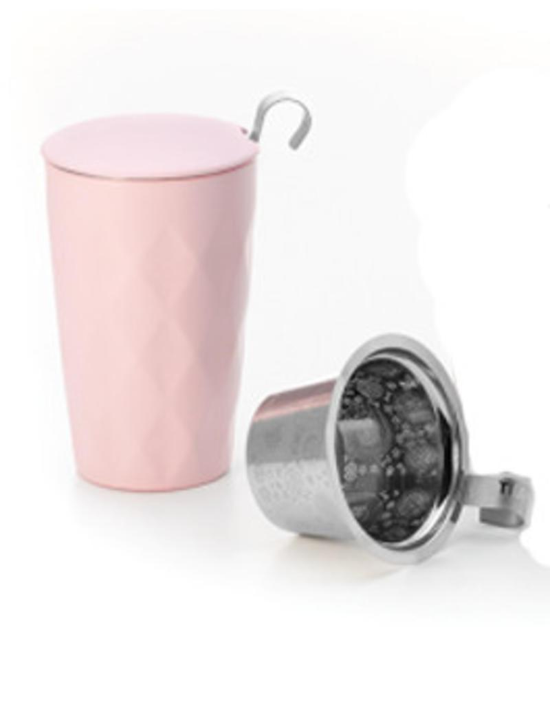 Tea Brokers Thermo Theebeker LUX Line met RVS filter en deksel, mat roze