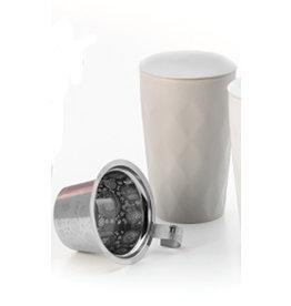 Tea Brokers Theebeker LUX Line met RVS filter en deksel, mat grijs