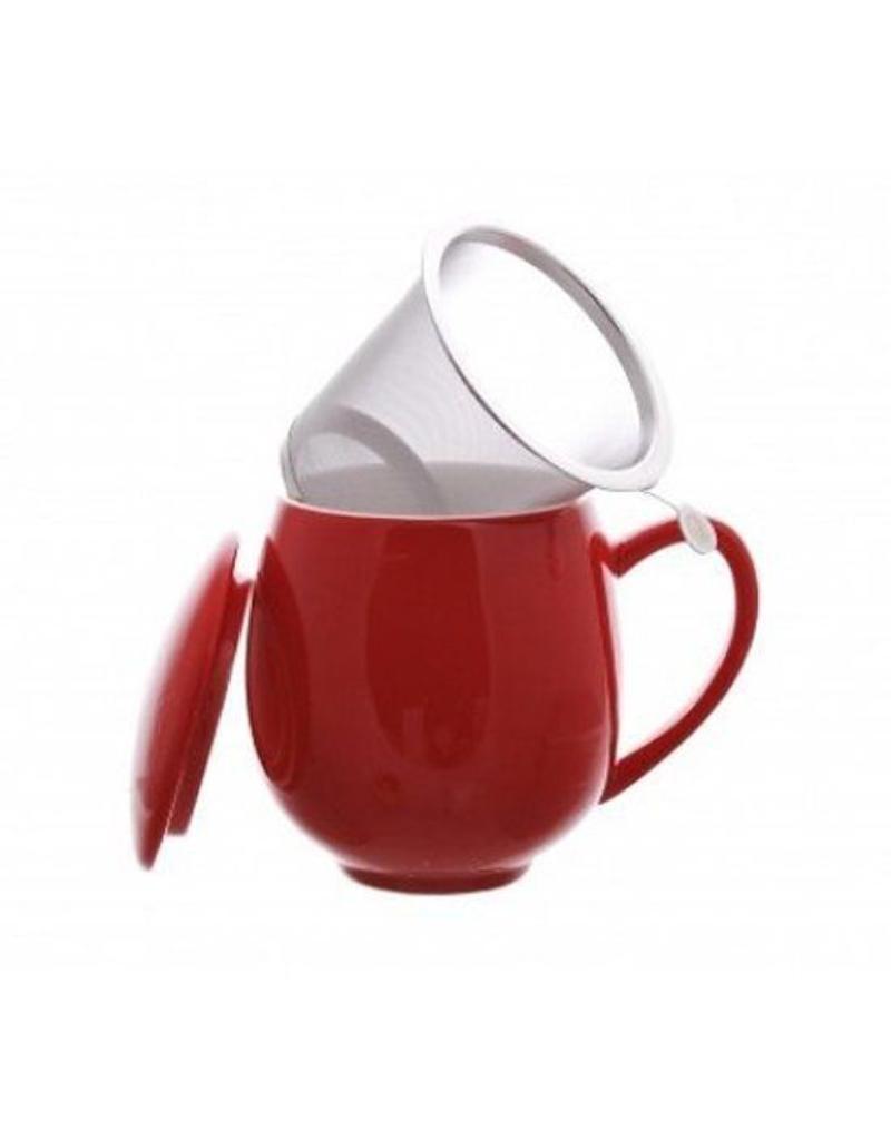 Tea Brokers Theebeker met RVS filter en deksel rood