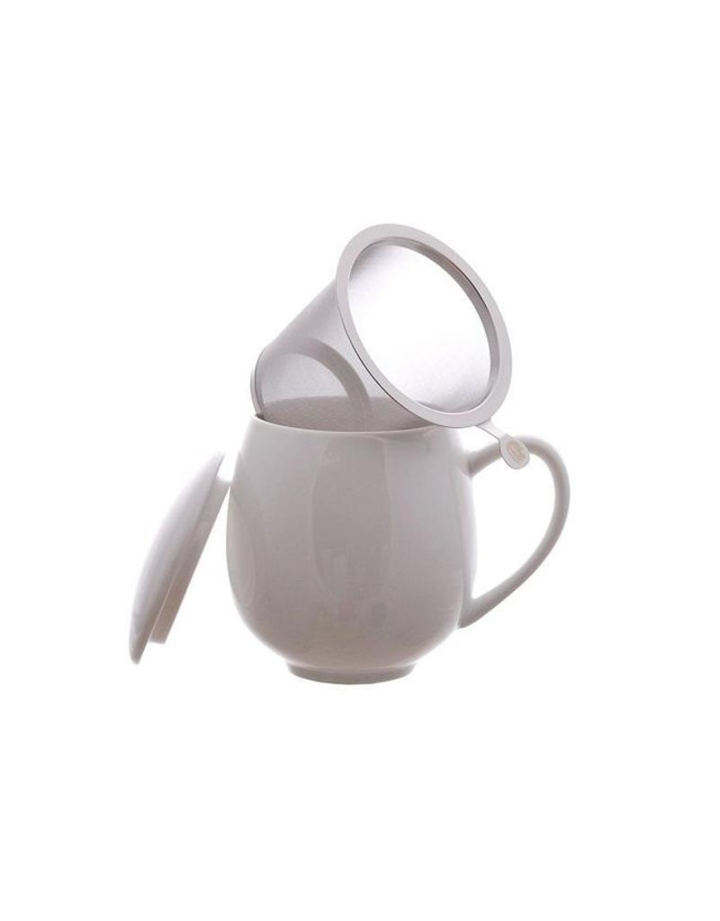 Tea Brokers Theebeker met RVS filter en deksel wit