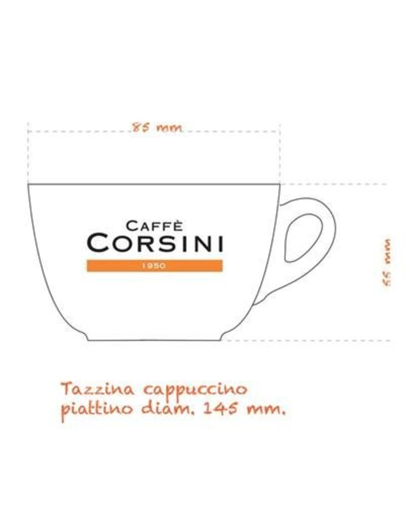 Caffè Corsini® 6 Cappuccino glazen kop- en schotels 160 cc met logo Caffè Corsini