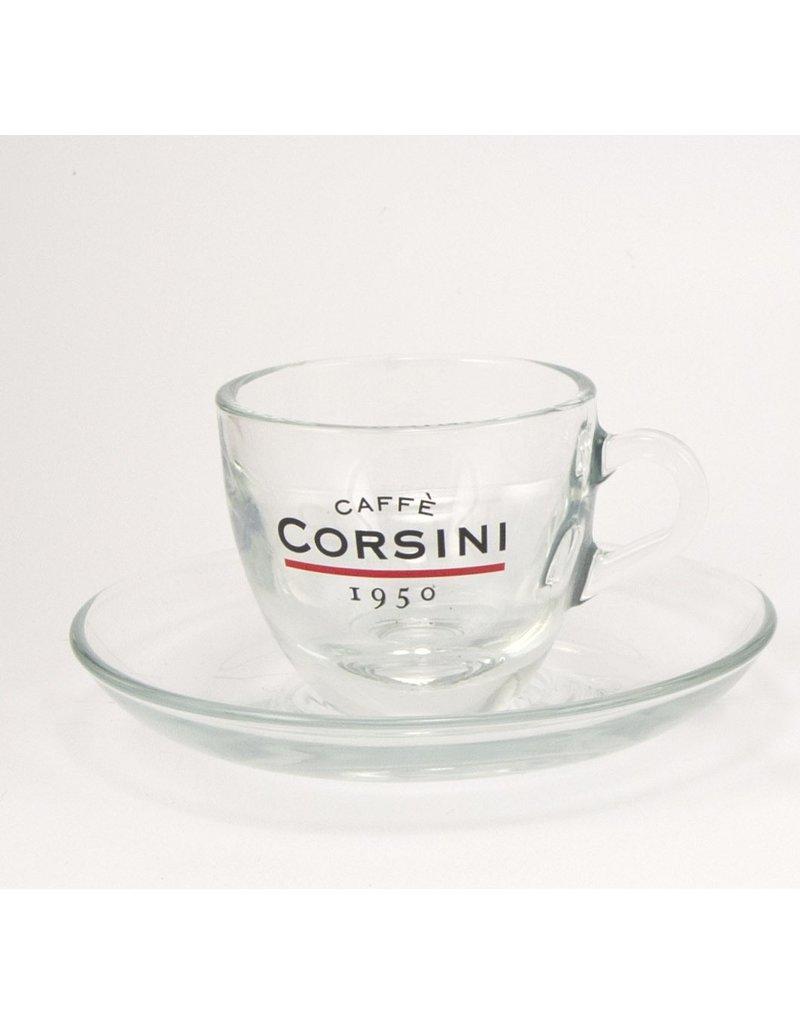 Caffè Corsini® 6 espresso kop- en schotels glas 70 cc met logo