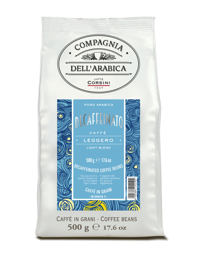 Pure Arabica Decaffeinato koffiebonen zak à 500 gram
