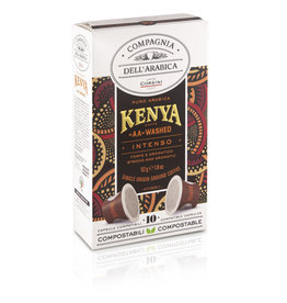 "Compagnia dell'Arabica® 10 composteerbare cups Kenya ""AA"" washed 'Single Origin' capsules voor Nespresso® machines"
