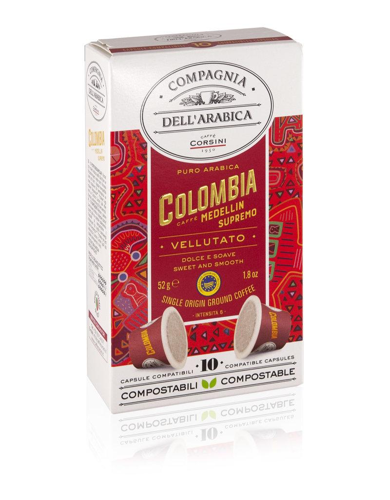 Compagnia dell'Arabica® 10 composteerbare koffiecups Colombia Medellin Supremo 'Single Origin' geschikt voor Nespresso® machines