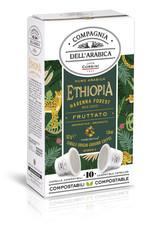 Compagnia dell'Arabica® Corsini cadeauverpakking 50 biologisch afbreekbare koffiecups voor Nespresso® machines + twee Espresso kopjes en schotels.