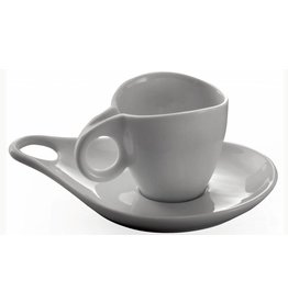 """6 Espresso kop- en schotel """"Milla porcellana"""" Superwhite"""
