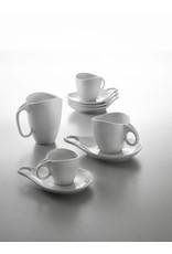 """Bugatti 6 Cappuccino kop- en schotel """"Milla porcellana"""" Superwhite"""