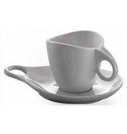 """6 Cappuccino kop- en schotel """"Milla porcellana"""" Superwhite"""