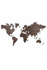 City Shapes Noten houten wereldkaart met ingegraveerde landgrenzen 160 cm x 86 cm