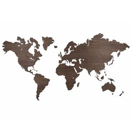 City Shapes Noten houten wereldkaart 160 cm x 86 cm