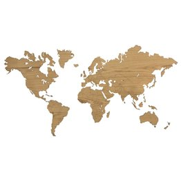 City Shapes Eiken houten wereldkaart 216 cm x 117 cm