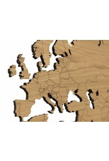 City Shapes Eiken houten wereldkaart met ingegraveerde landgrenzen. 160 cm x 86 cm