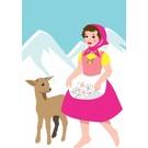 ng007   pop art new generation   Swiss Girl - Postkarte A6