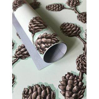 il7012 | illi | Pinecone Branch Light Blue - wrapping paper Bogen 50 x 70 cm