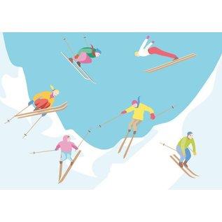cc074   crissXcross   Skifahrer - Postkarte A6