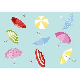 Postkarte - Regenschirme
