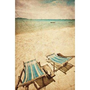 b012   brocante   Beach Chairs - postcard A6