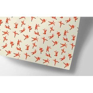 cc714 | crissXcross | Jumping Santa Claus - Geschenkpapier Bogen 50 x 70 cm