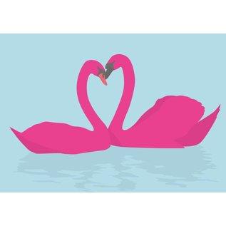 luminous Postkarte - Love Swans