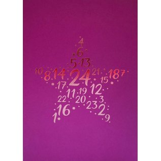 pu067 | Pure | Number Star Pink - folding card  B6