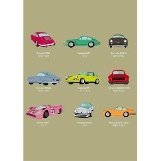 Druck A4 - Porsche mit Baujahr