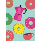 Postkarte - Espressomaschine und Donuts